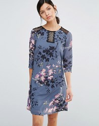 Little Mistress Floral Print And Lace Tunic Dress Print Multi