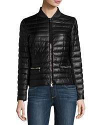 Moncler Buglose Quilted Leather Jacket Black