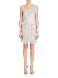 Kay Unger Embroidered Lace Sheath Dress Silver