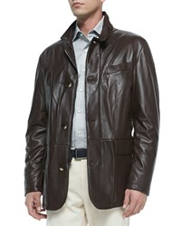 Peter Millar Sheepskin Leather Jacket Dark Brown