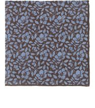 Isaia Houndstooth Floral Pocket Square Brown