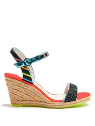Sophia Webster Lucita Multicoloured Espadrille Wedge Sandals Black Multi