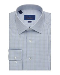 David Donahue Slim Fit Check Poplin Dress Shirt Olive