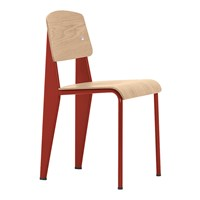 Vitra Standard Chair With Red Frame And Oak Seat