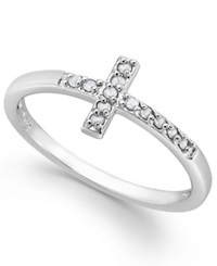 Macy's Diamond Cross Ring In Sterling Silver 1 10 Ct. T.W.