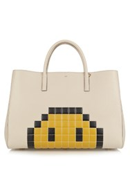 Anya Hindmarch Ebury Maxi Pixel Smiley Leather Tote Grey Multi