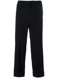 Alberto Biani Straight Cropped Trousers Black