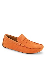 Saks Fifth Avenue Leather Penny Loafers Flame