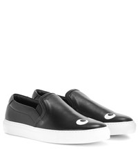 Anya Hindmarch Eyes Right Leather Slip On Sneakers Black