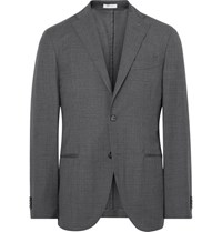 Boglioli Grey K Jacket Slim Fit Checked Virgin Wool Suit Jacket Dark Gray
