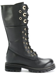 Twin Set Combat Boots Leather Suede Rubber Black