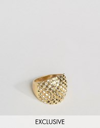 Designb London Textured Chunky Ring In Gold Gold