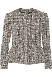 Alexander Mcqueen Cotton And Wool Blend Tweed Peplum Jacket Black
