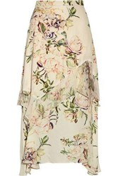 Haute Hippie The Garden Ruffle Trimmed Floral Print Silk Crepe De Chine Midi Skirt Ivory