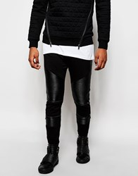 Black Kaviar Skinny Joggers With Faux Leather Panelling Black