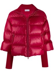 Red Valentino V Knitted Sleeves Zipped Puffer Jacket Red