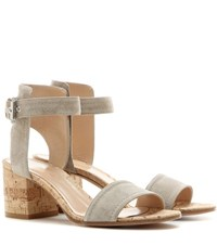 Gianvito Rossi Rikki Low Suede Sandals Beige