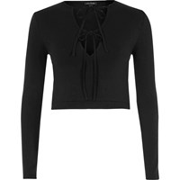 River Island Black Tie Up Front Long Sleeve Crop Top