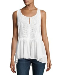 Willow And Clay Chiffon Crochet Front Ruffled Top Ivory