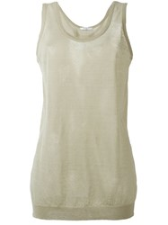 Givenchy Ribbed Hem Sheer Tank Nude And Neutrals