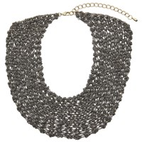 John Lewis Chain Metal Short Statement Necklace Gunmetal