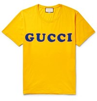 Gucci Distressed Logo Print Cotton Jersey T Shirt Marigold