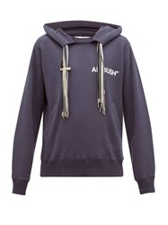 Ambush Drawstring Tassel Cotton Jersey Hooded Sweatshirt Blue
