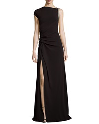 Halston Heritage Ruched Waist Gown With Slit Black