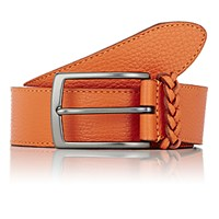 Barneys New York Men's Braided Keeper Calfskin Belt Orange