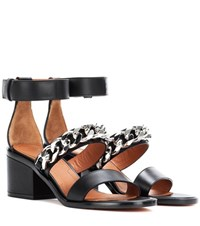 Givenchy Chain 6 Leather Sandals Black