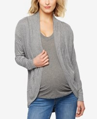 A Pea In The Pod Maternity Open Front Cardigan Black Grey Stripe