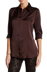 Insight Long Sleeve Pocket Detail Blouse Brown