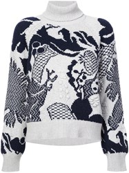 Barrie Embroidered Roll Neck Sweater Blue