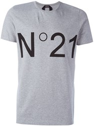 N 21 No21 Logo Print T Shirt Grey