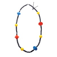 Scenery Label Primary Colour Bead Necklace Black Blue Yellow