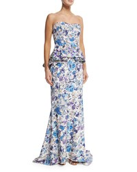 Badgley Mischka Strapless Floral Print Peplum Gown Blue Multi