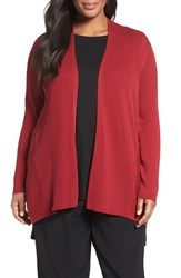 Eileen Fisher Plus Size Women's Ribbed Silk And Organic Cotton Cardigan