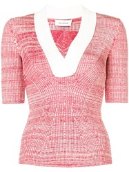 Yigal Azrouel Melange Knit Top Red