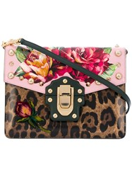 Dolce And Gabbana Lucia Floral Leopard Print Bag Cotton Calf Leather