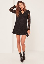 Missguided Black Keyhole Lace Swing Dress