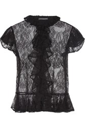 Alexander Mcqueen Ruffled Lace Shirt Black