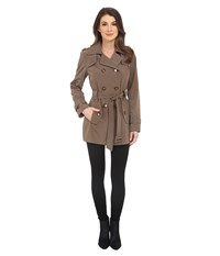 Calvin Klein Double Breasted Belted Trench W Gunflaps Truffle Women's Coat Brown