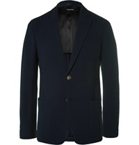 Giorgio Armani Blue Slim Fit Stretch Wool Seersucker Blazer Navy