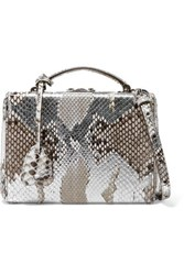 Mark Cross Grace Small Painted Python Shoulder Bag Silver