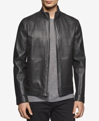 Calvin Klein Men's Slim Fit Perforated Premium Leather Jacket Black