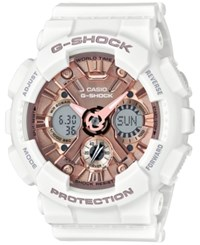 G Shock Women's S Series Analog Digital White And Rose Gold Tone Watch 46Mm Gmas120mf7a2