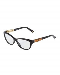 Gucci Cat Eye Acetate Eyeglasses Black Gold