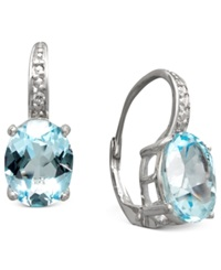 Victoria Townsend Sterling Silver Earrings Blue Topaz 7 Ct. T.W. And Diamond Accent Oval Earrings