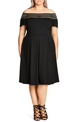 City Chic Plus Size Women's 'Shadow Stripe' Fit And Flare Dress Black