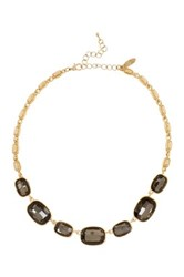 Natasha Accessories Square Faceted Crystal Station Necklace White